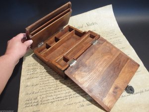Antique Style Wood Folding Travel Writing Lap Desk $89.99