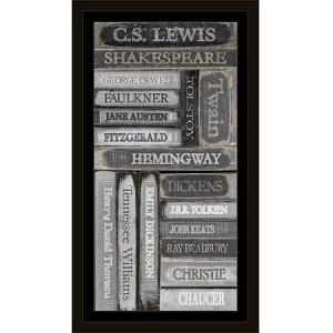 Distressed Famous Classic Author Book Spines Black & White, Framed Canvas Art by Pied Piper Creative